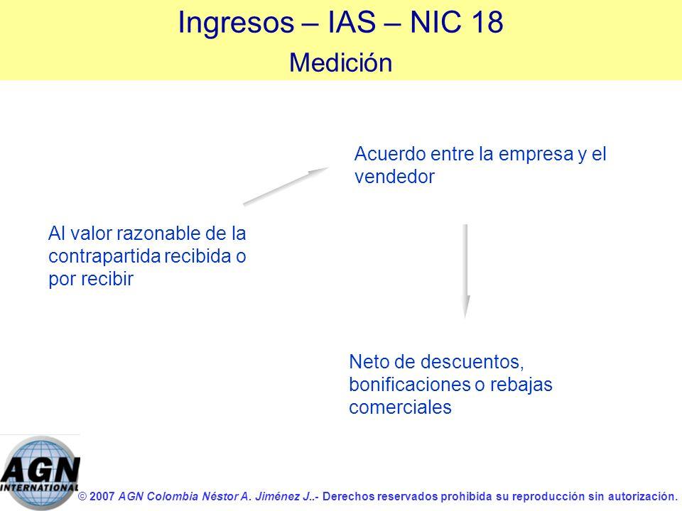 © 2007 AGN Colombia Néstor A. Jiménez J..- Derechos reservados prohibida su reproducción sin autorización. Al valor razonable de la contrapartida reci