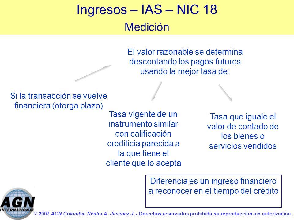 © 2007 AGN Colombia Néstor A. Jiménez J..- Derechos reservados prohibida su reproducción sin autorización. El valor razonable se determina descontando