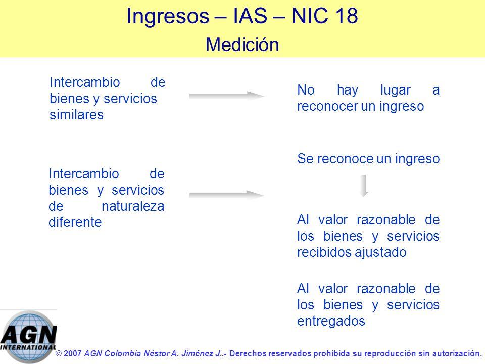 © 2007 AGN Colombia Néstor A. Jiménez J..- Derechos reservados prohibida su reproducción sin autorización. Intercambio de bienes y servicios similares