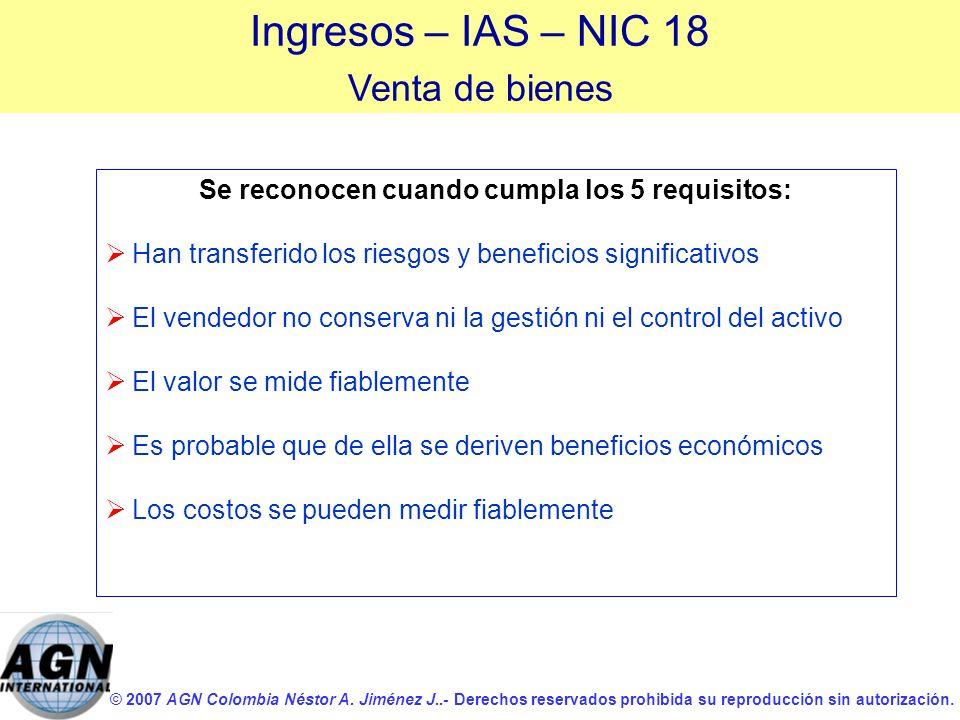 © 2007 AGN Colombia Néstor A. Jiménez J..- Derechos reservados prohibida su reproducción sin autorización. Se reconocen cuando cumpla los 5 requisitos