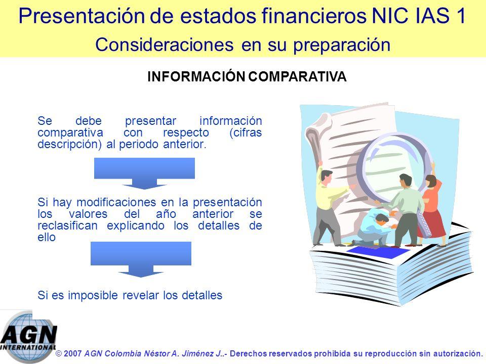 © 2007 AGN Colombia Néstor A. Jiménez J..- Derechos reservados prohibida su reproducción sin autorización. Se debe presentar información comparativa c
