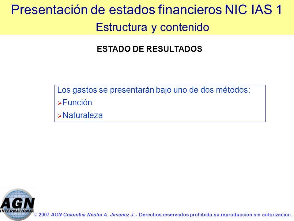 © 2007 AGN Colombia Néstor A. Jiménez J..- Derechos reservados prohibida su reproducción sin autorización. Los gastos se presentarán bajo uno de dos m