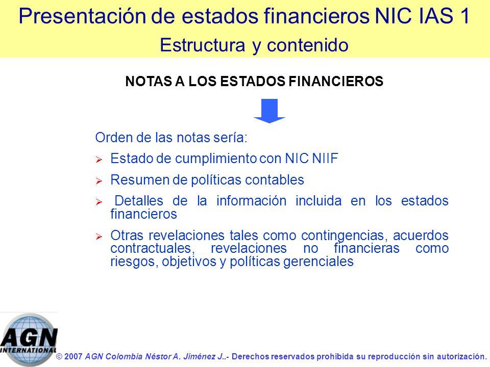 © 2007 AGN Colombia Néstor A. Jiménez J..- Derechos reservados prohibida su reproducción sin autorización. Orden de las notas sería: Estado de cumplim