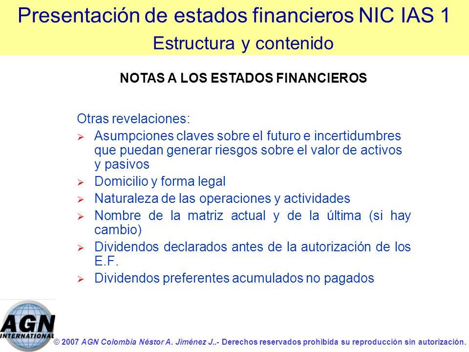 © 2007 AGN Colombia Néstor A. Jiménez J..- Derechos reservados prohibida su reproducción sin autorización. Otras revelaciones: Asumpciones claves sobr