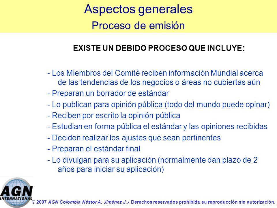 © 2007 AGN Colombia Néstor A. Jiménez J..- Derechos reservados prohibida su reproducción sin autorización. EXISTE UN DEBIDO PROCESO QUE INCLUYE : - Lo