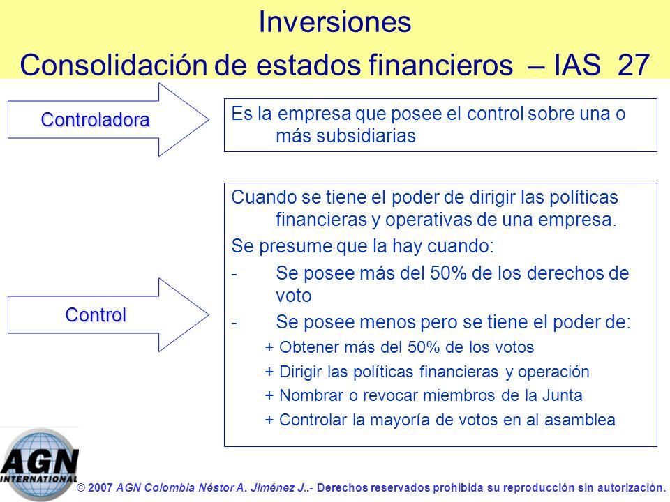 © 2007 AGN Colombia Néstor A. Jiménez J..- Derechos reservados prohibida su reproducción sin autorización. Es la empresa que posee el control sobre un