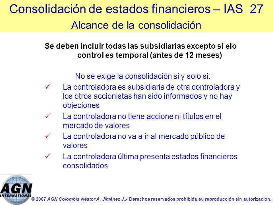 © 2007 AGN Colombia Néstor A. Jiménez J..- Derechos reservados prohibida su reproducción sin autorización. Se deben incluir todas las subsidiarias exc