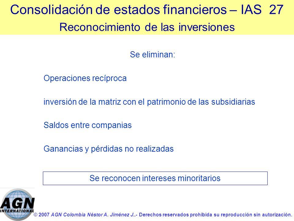 © 2007 AGN Colombia Néstor A. Jiménez J..- Derechos reservados prohibida su reproducción sin autorización. Se eliminan: Operaciones recíproca inversió
