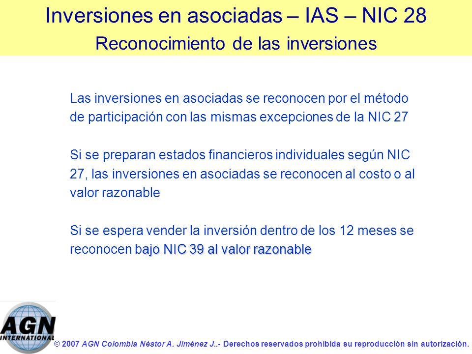 © 2007 AGN Colombia Néstor A. Jiménez J..- Derechos reservados prohibida su reproducción sin autorización. Las inversiones en asociadas se reconocen p