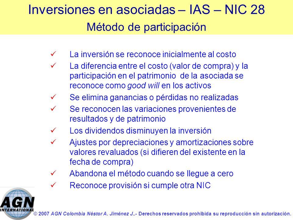 © 2007 AGN Colombia Néstor A. Jiménez J..- Derechos reservados prohibida su reproducción sin autorización. La inversión se reconoce inicialmente al co