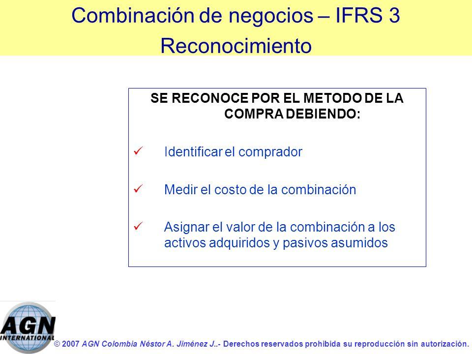 © 2007 AGN Colombia Néstor A. Jiménez J..- Derechos reservados prohibida su reproducción sin autorización. SE RECONOCE POR EL METODO DE LA COMPRA DEBI
