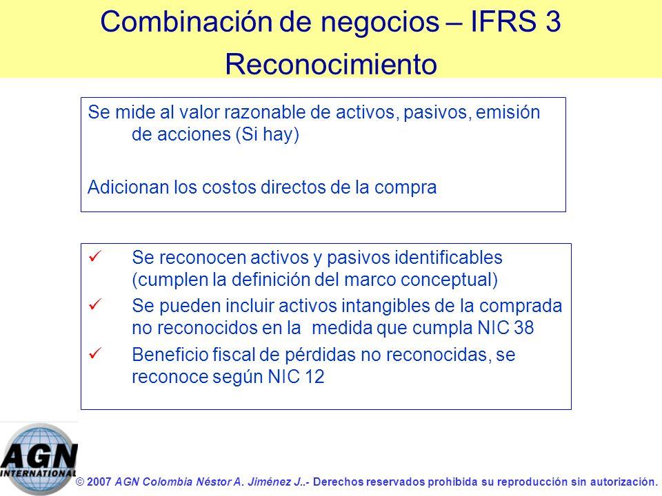 © 2007 AGN Colombia Néstor A. Jiménez J..- Derechos reservados prohibida su reproducción sin autorización. Se mide al valor razonable de activos, pasi