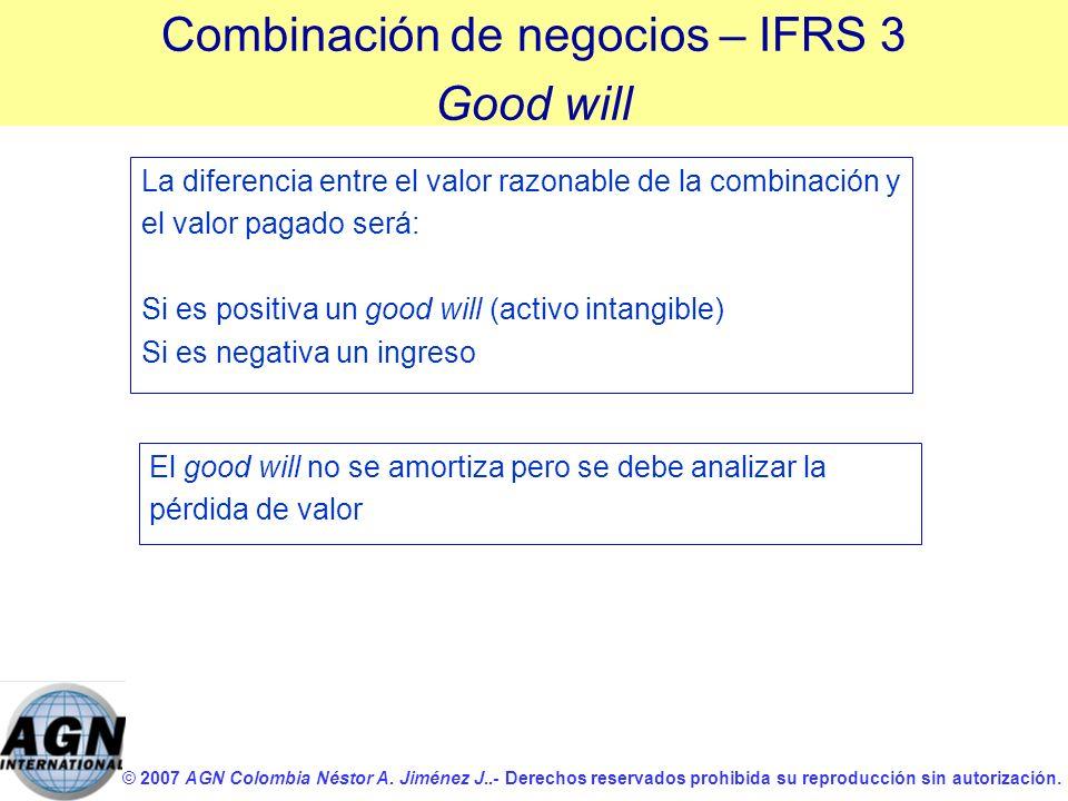 © 2007 AGN Colombia Néstor A. Jiménez J..- Derechos reservados prohibida su reproducción sin autorización. La diferencia entre el valor razonable de l