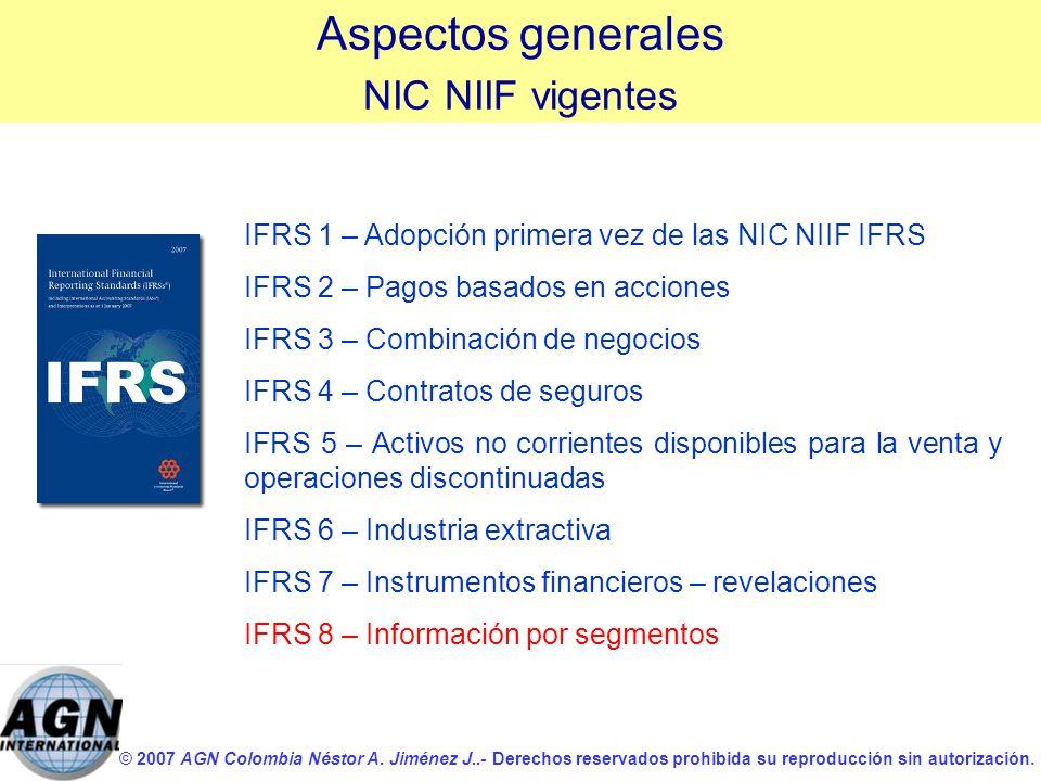 © 2007 AGN Colombia Néstor A. Jiménez J..- Derechos reservados prohibida su reproducción sin autorización. IFRS 1 – Adopción primera vez de las NIC NI