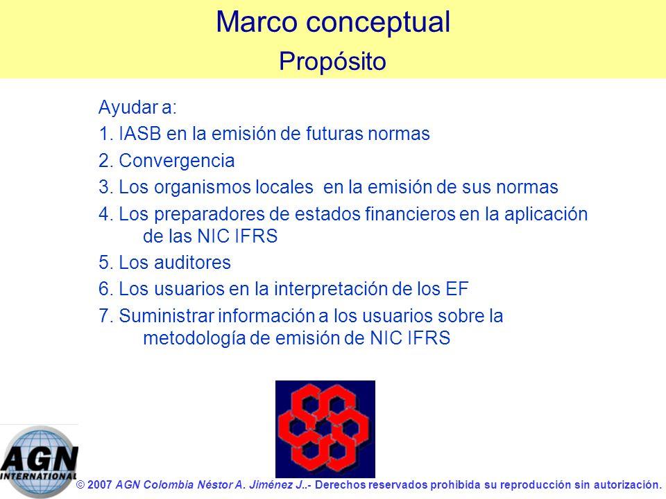 © 2007 AGN Colombia Néstor A. Jiménez J..- Derechos reservados prohibida su reproducción sin autorización. Ayudar a: 1. IASB en la emisión de futuras