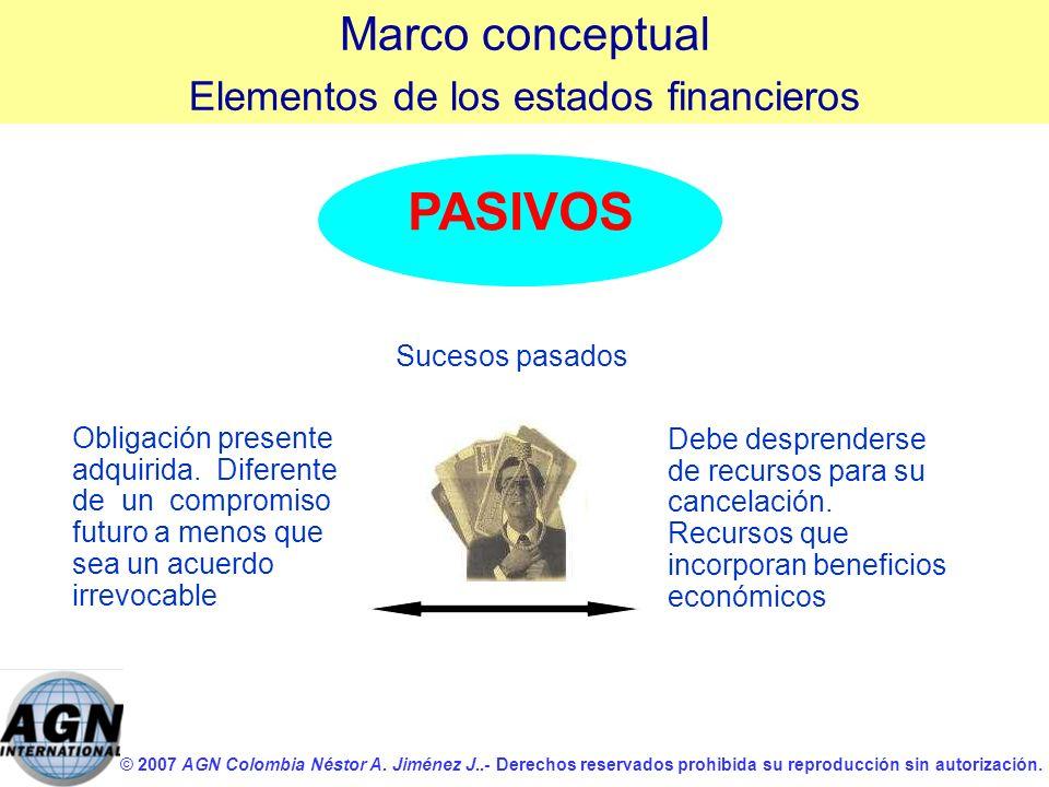 © 2007 AGN Colombia Néstor A. Jiménez J..- Derechos reservados prohibida su reproducción sin autorización. PASIVOS Obligación presente adquirida. Dife