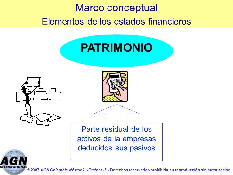 © 2007 AGN Colombia Néstor A. Jiménez J..- Derechos reservados prohibida su reproducción sin autorización. PATRIMONIO Parte residual de los activos de