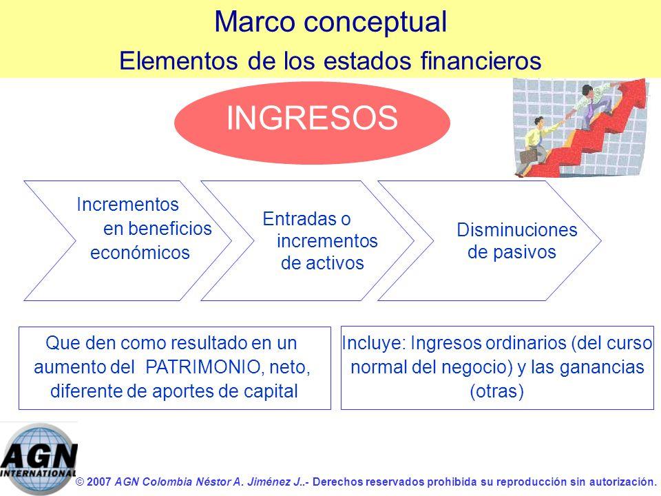 © 2007 AGN Colombia Néstor A. Jiménez J..- Derechos reservados prohibida su reproducción sin autorización. INGRESOS Incrementos en beneficios económic