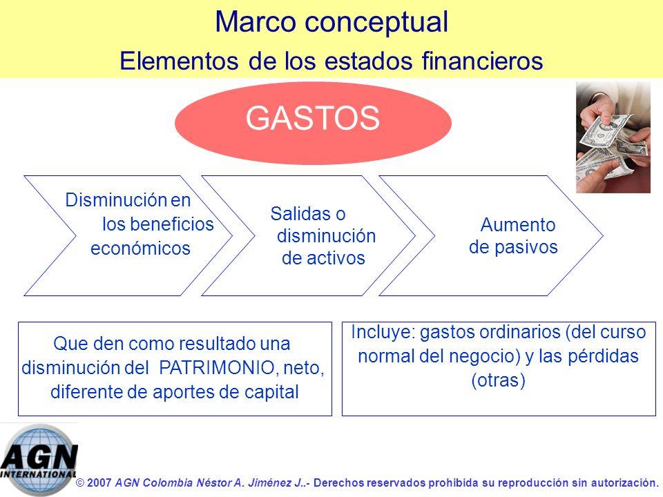 © 2007 AGN Colombia Néstor A. Jiménez J..- Derechos reservados prohibida su reproducción sin autorización. GASTOS Disminución en los beneficios económ