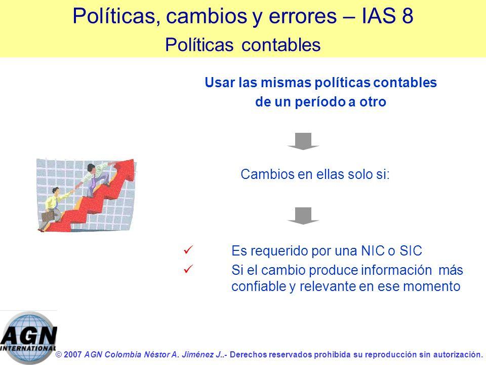 © 2007 AGN Colombia Néstor A. Jiménez J..- Derechos reservados prohibida su reproducción sin autorización. Cambios en ellas solo si: Políticas, cambio