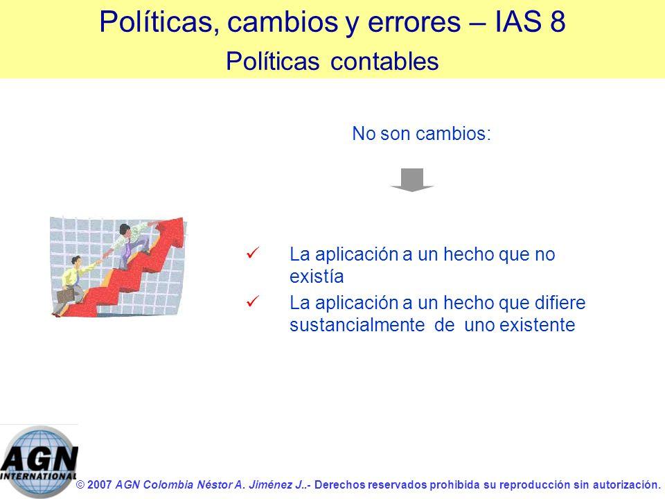 © 2007 AGN Colombia Néstor A. Jiménez J..- Derechos reservados prohibida su reproducción sin autorización. La aplicación a un hecho que no existía La
