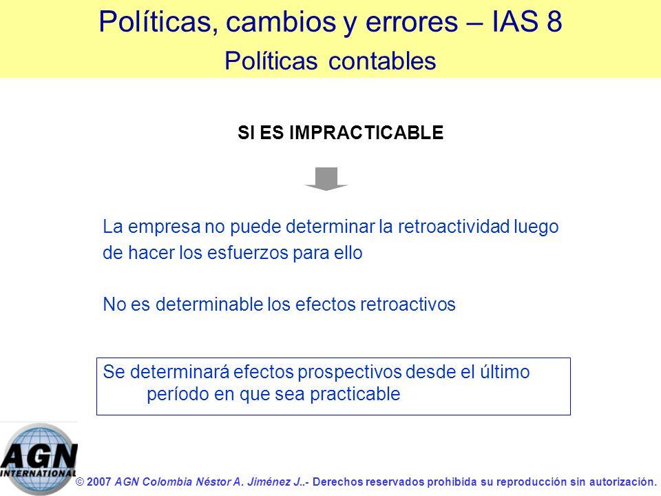 © 2007 AGN Colombia Néstor A. Jiménez J..- Derechos reservados prohibida su reproducción sin autorización. La empresa no puede determinar la retroacti