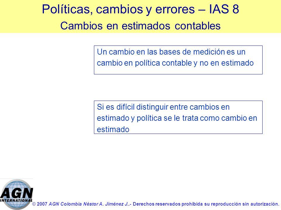 © 2007 AGN Colombia Néstor A. Jiménez J..- Derechos reservados prohibida su reproducción sin autorización. Un cambio en las bases de medición es un ca