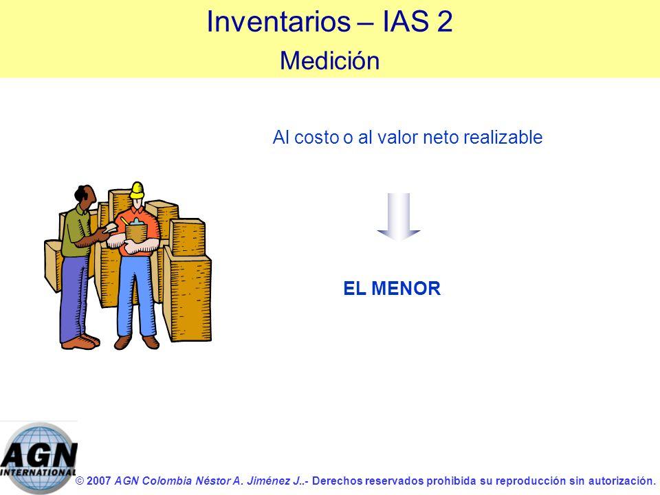 © 2007 AGN Colombia Néstor A. Jiménez J..- Derechos reservados prohibida su reproducción sin autorización. Al costo o al valor neto realizable Inventa