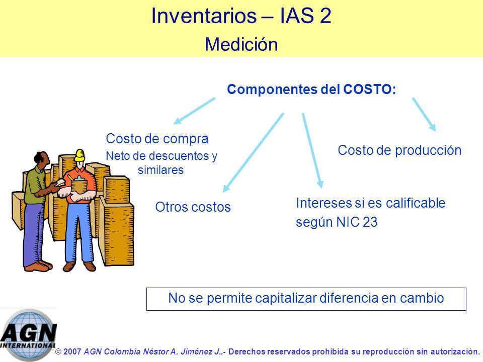 © 2007 AGN Colombia Néstor A. Jiménez J..- Derechos reservados prohibida su reproducción sin autorización. Inventarios – IAS 2 Medición Componentes de