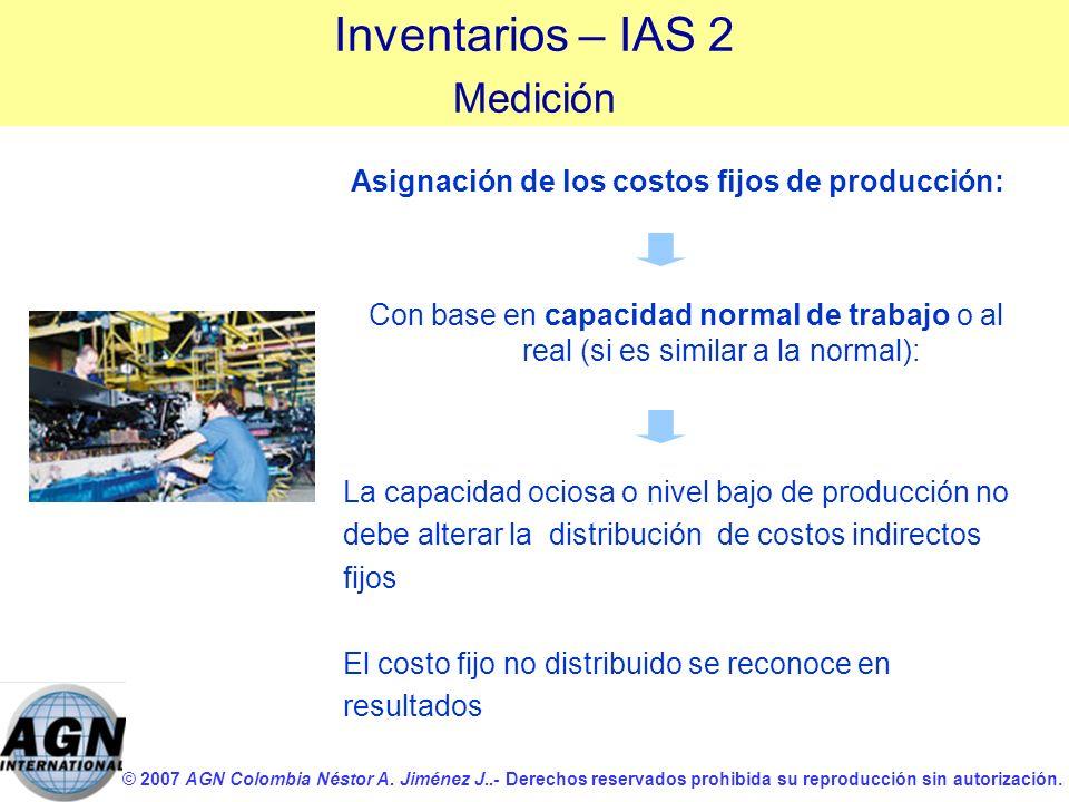 © 2007 AGN Colombia Néstor A. Jiménez J..- Derechos reservados prohibida su reproducción sin autorización. Asignación de los costos fijos de producció