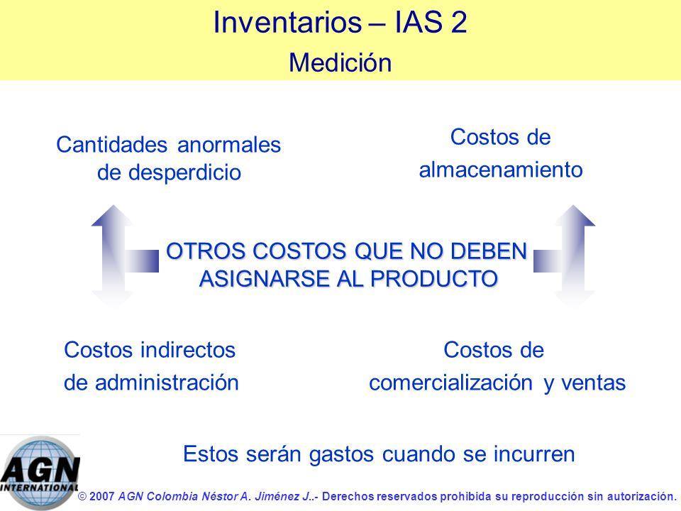 © 2007 AGN Colombia Néstor A. Jiménez J..- Derechos reservados prohibida su reproducción sin autorización. OTROS COSTOS QUE NO DEBEN ASIGNARSE AL PROD