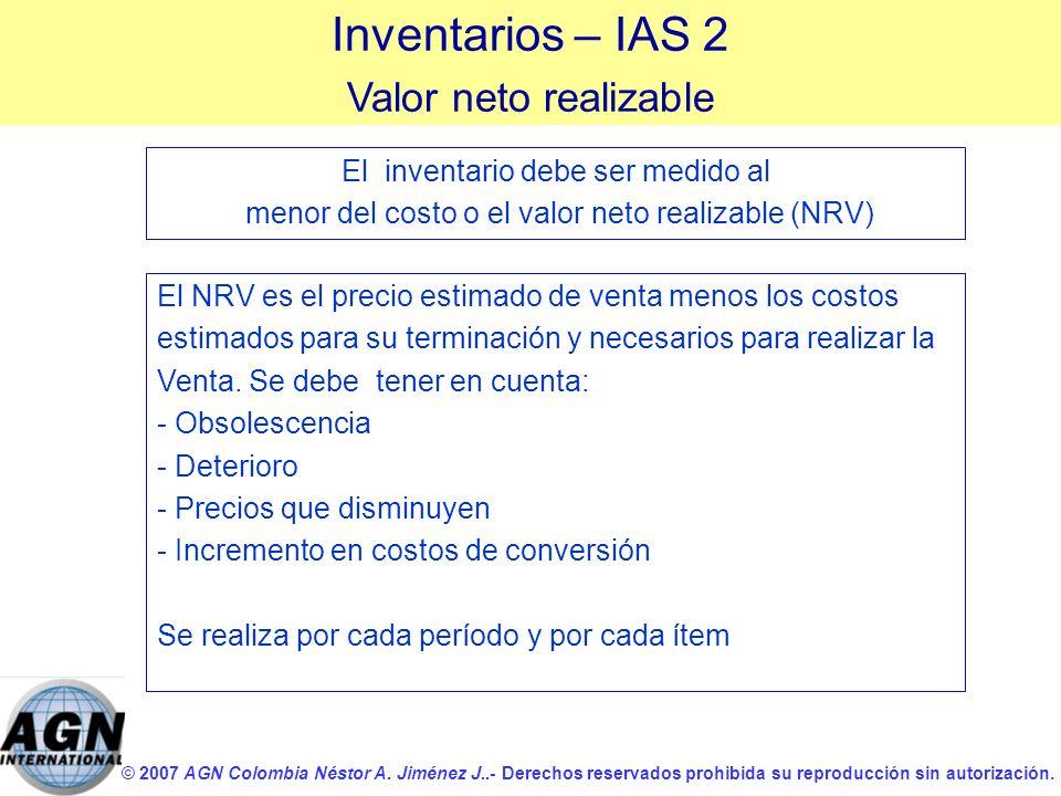 © 2007 AGN Colombia Néstor A. Jiménez J..- Derechos reservados prohibida su reproducción sin autorización. El inventario debe ser medido al menor del