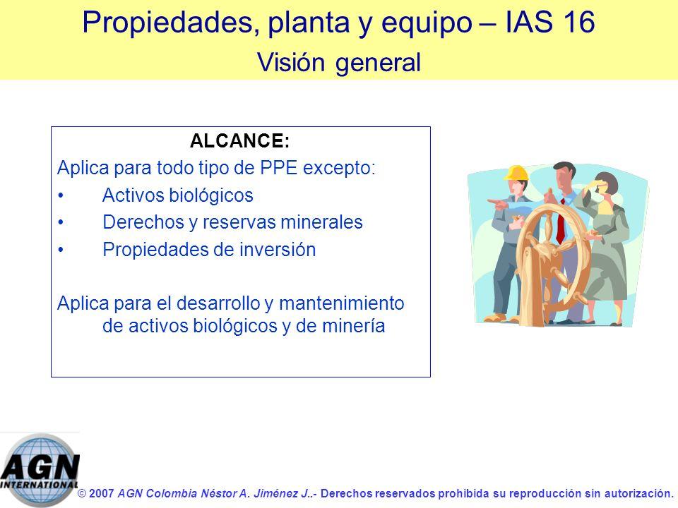 © 2007 AGN Colombia Néstor A. Jiménez J..- Derechos reservados prohibida su reproducción sin autorización. ALCANCE: Aplica para todo tipo de PPE excep