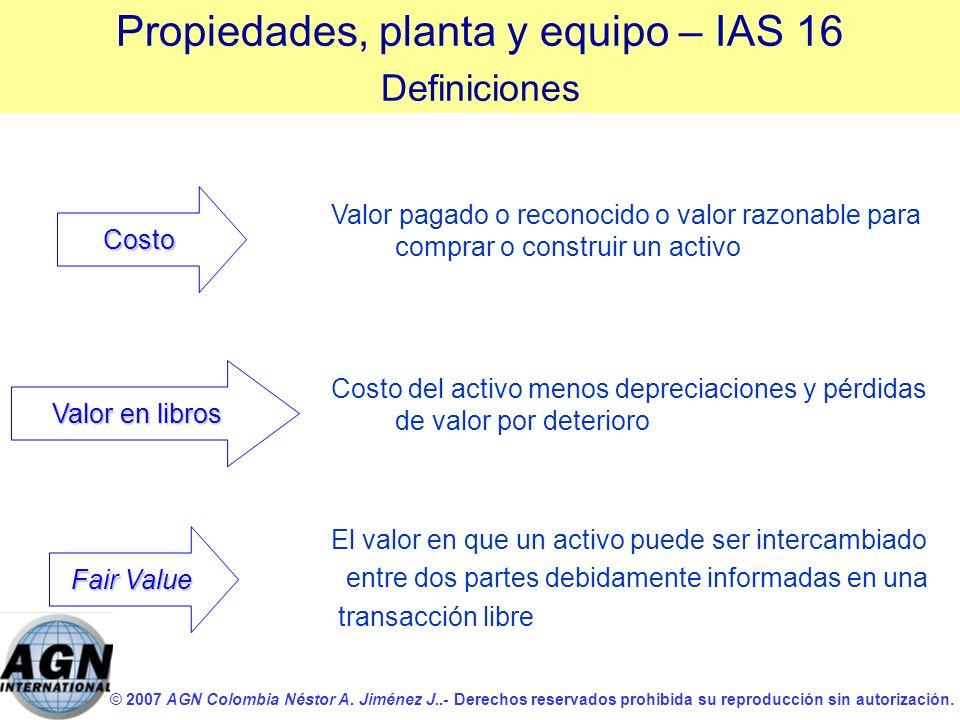 © 2007 AGN Colombia Néstor A. Jiménez J..- Derechos reservados prohibida su reproducción sin autorización. Valor pagado o reconocido o valor razonable