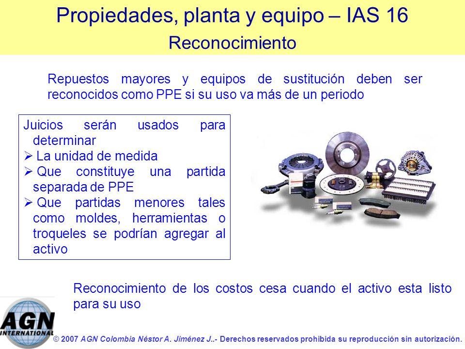 © 2007 AGN Colombia Néstor A. Jiménez J..- Derechos reservados prohibida su reproducción sin autorización. Repuestos mayores y equipos de sustitución