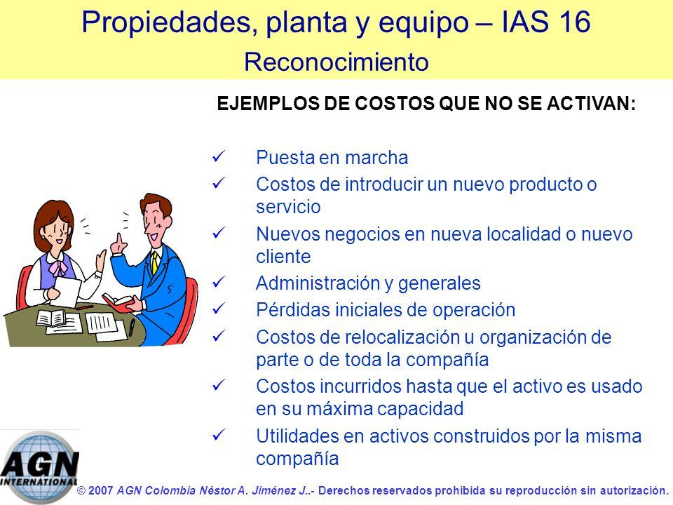 © 2007 AGN Colombia Néstor A. Jiménez J..- Derechos reservados prohibida su reproducción sin autorización. EJEMPLOS DE COSTOS QUE NO SE ACTIVAN: Puest