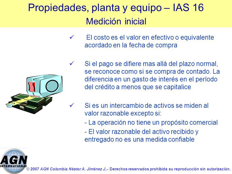 © 2007 AGN Colombia Néstor A. Jiménez J..- Derechos reservados prohibida su reproducción sin autorización. El costo es el valor en efectivo o equivale