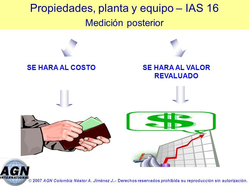 © 2007 AGN Colombia Néstor A. Jiménez J..- Derechos reservados prohibida su reproducción sin autorización. SE HARA AL COSTOSE HARA AL VALOR REVALUADO