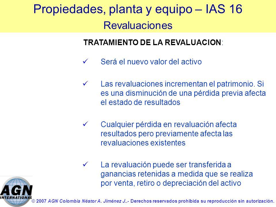 © 2007 AGN Colombia Néstor A. Jiménez J..- Derechos reservados prohibida su reproducción sin autorización. Será el nuevo valor del activo Las revaluac