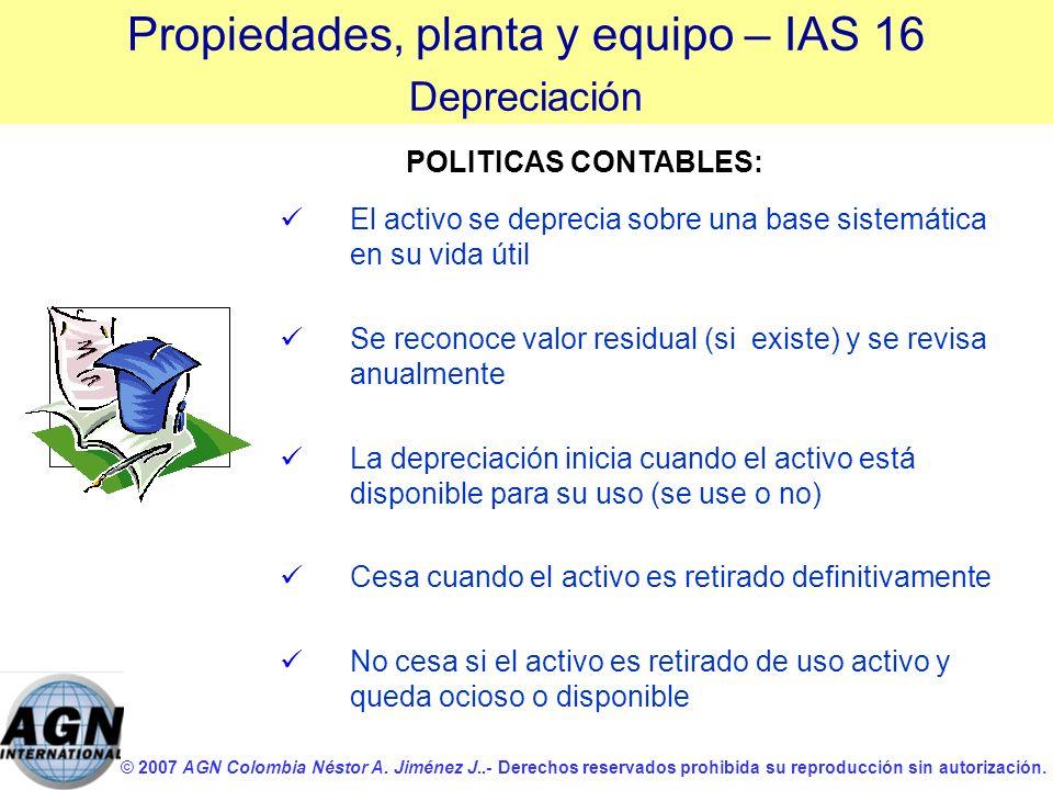 © 2007 AGN Colombia Néstor A. Jiménez J..- Derechos reservados prohibida su reproducción sin autorización. El activo se deprecia sobre una base sistem