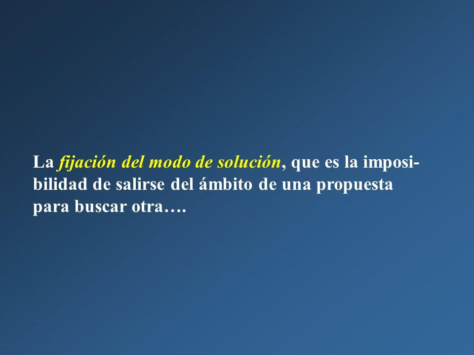 La fijación del modo de solución, que es la imposi- bilidad de salirse del ámbito de una propuesta para buscar otra….