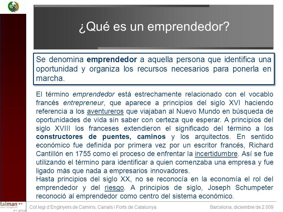Barcelona, diciembre de 2.009 Col.legi dEnginyers de Camins, Canals i Ports de Catalunya ¿Qué es un emprendedor.