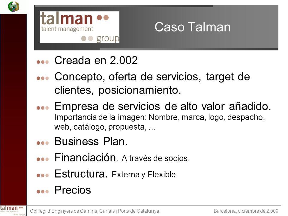 Barcelona, diciembre de 2.009 Col.legi dEnginyers de Camins, Canals i Ports de Catalunya Caso Talman Creada en 2.002 Concepto, oferta de servicios, target de clientes, posicionamiento.