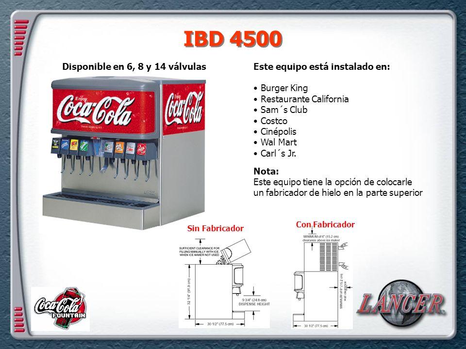IBD 4500 Este equipo está instalado en: Burger King Restaurante California Sam´s Club Costco Cinépolis Wal Mart Carl´s Jr.