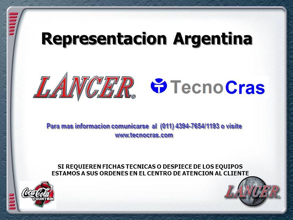 Representacion Argentina Para mas informacion comunicarse al (011) 4394-7654/1193 o visite www.tecnocras.com SI REQUIEREN FICHAS TECNICAS O DESPIECE DE LOS EQUIPOS ESTAMOS A SUS ORDENES EN EL CENTRO DE ATENCION AL CLIENTE