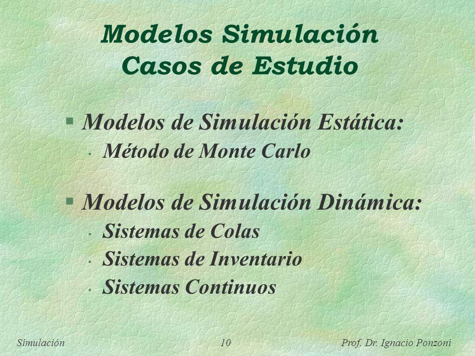 Simulación 10 Prof. Dr. Ignacio Ponzoni Modelos Simulación Casos de Estudio Modelos de Simulación Estática: Método de Monte Carlo Modelos de Simulació