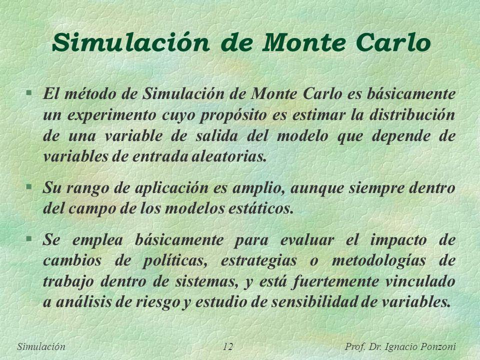 Simulación 12 Prof. Dr. Ignacio Ponzoni Simulación de Monte Carlo El método de Simulación de Monte Carlo es básicamente un experimento cuyo propósito