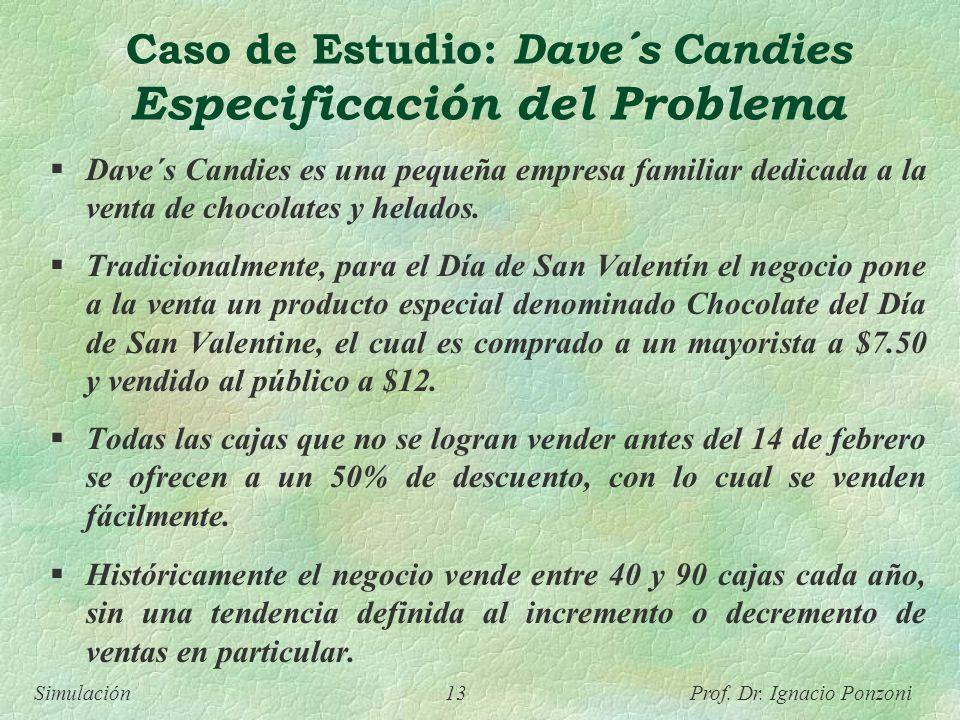 Simulación 13 Prof. Dr. Ignacio Ponzoni Caso de Estudio: Dave´s Candies Especificación del Problema Dave´s Candies es una pequeña empresa familiar ded
