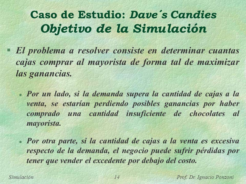 Simulación 14 Prof. Dr. Ignacio Ponzoni Caso de Estudio: Dave´s Candies Objetivo de la Simulación El problema a resolver consiste en determinar cuanta