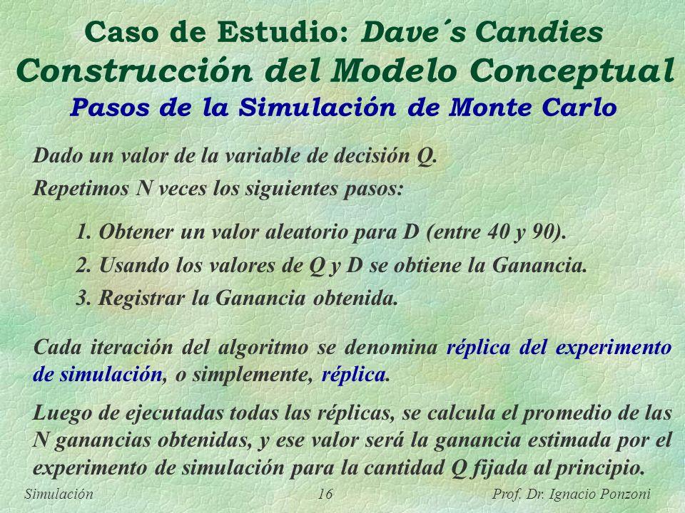 Simulación 16 Prof. Dr. Ignacio Ponzoni Caso de Estudio: Dave´s Candies Construcción del Modelo Conceptual Pasos de la Simulación de Monte Carlo Dado